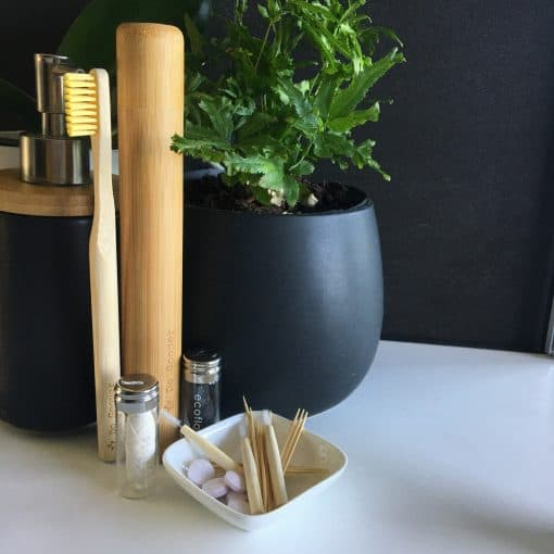 Do Gooder eco friendly bamboo toothbrush and floss set with bamboo travel case